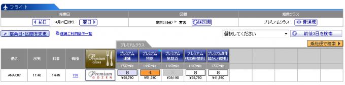東京-宮古島プレミアムクラス平日運賃