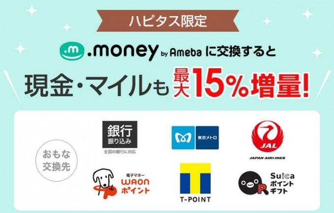 ハピタス限定.money15%増量キャンペーン