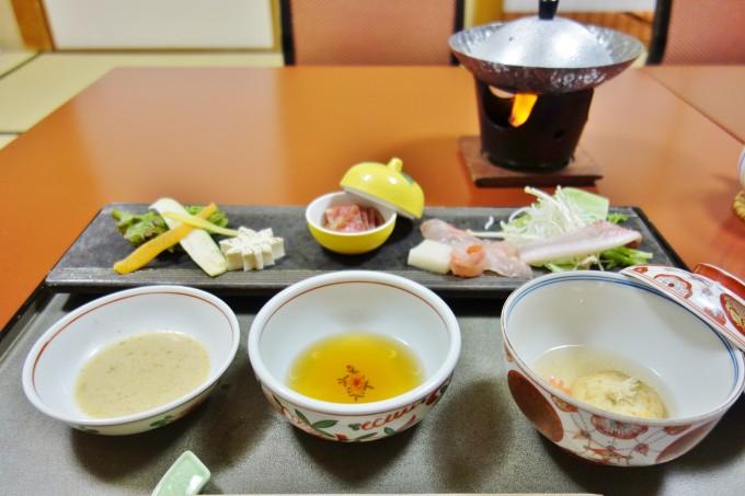 山翠楼の夕食(しゃぶしゃぶ)