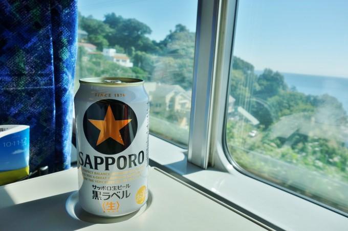 グリーン車でサッポロビール黒ラベル