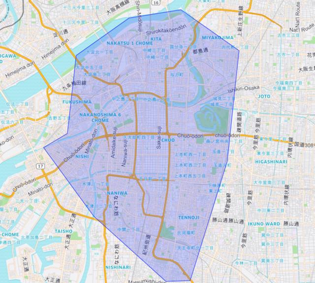 UberEATSの大阪周辺対象エリアマップ
