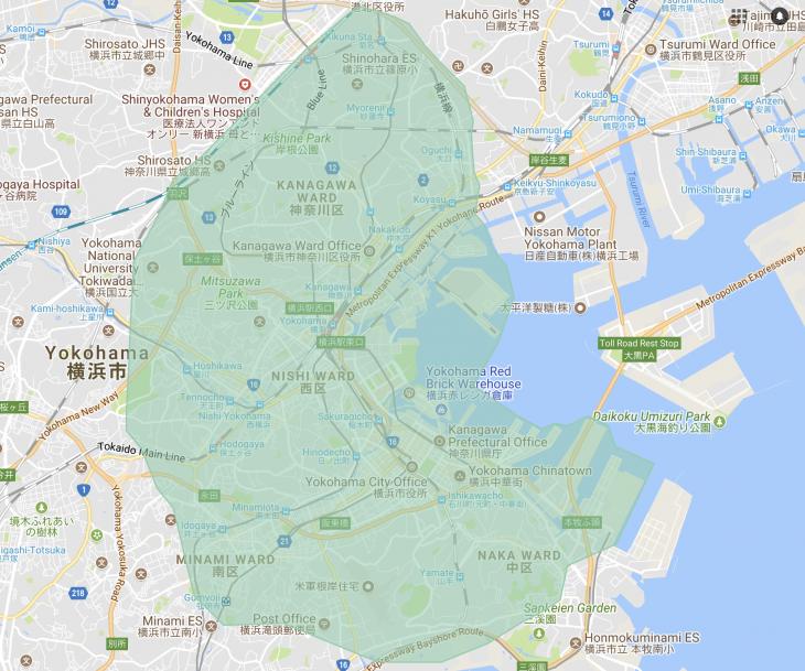 UberEATSの横浜周辺対象エリアマップ