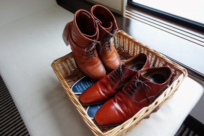 ピカピカになった靴