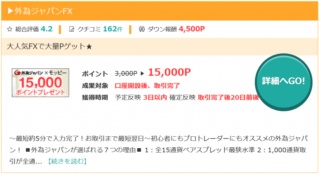 モッピーの外為ジャパンFX案件