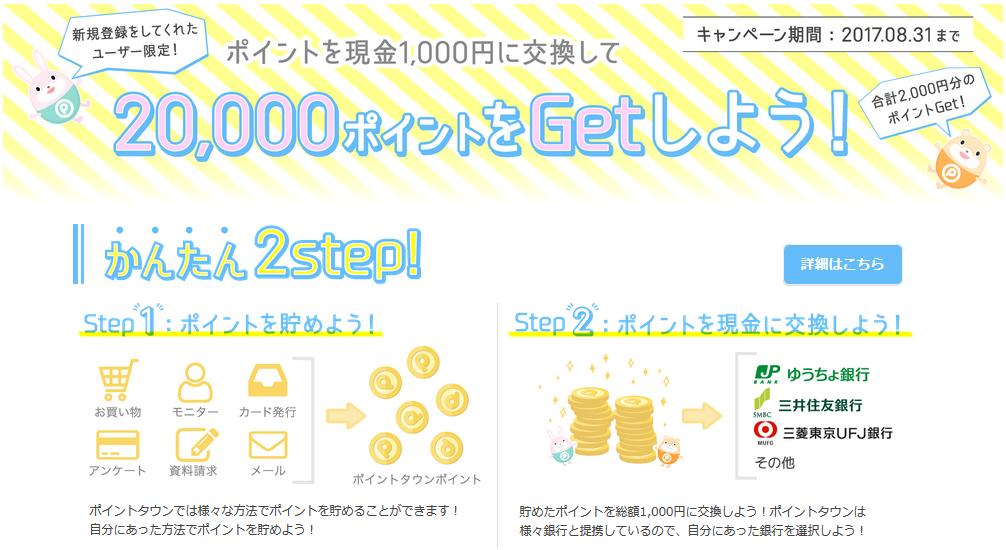 ポイントタウンの新規入会で1000円貰えるキャンペーン