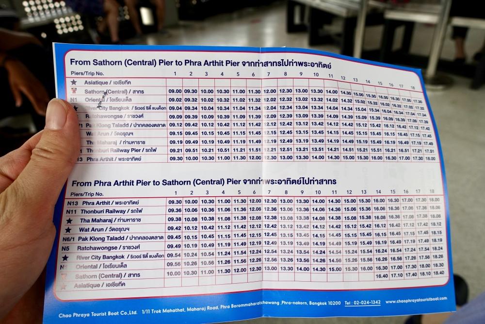 タイ水上バスの時刻表
