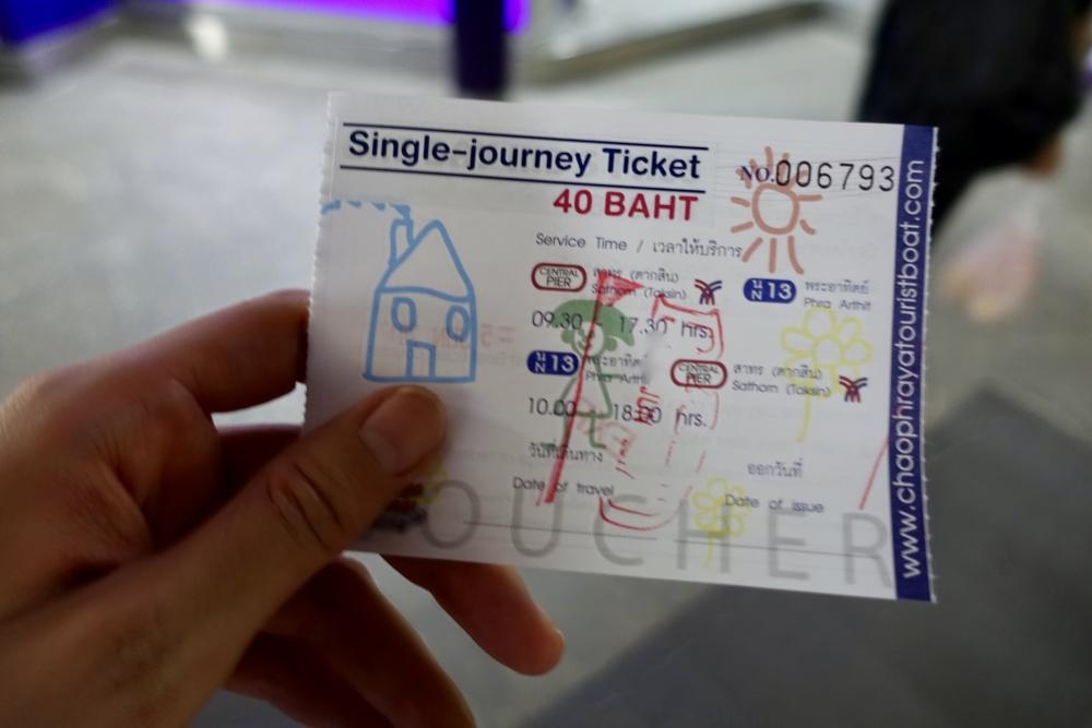 バンコク・水上バスのチケット