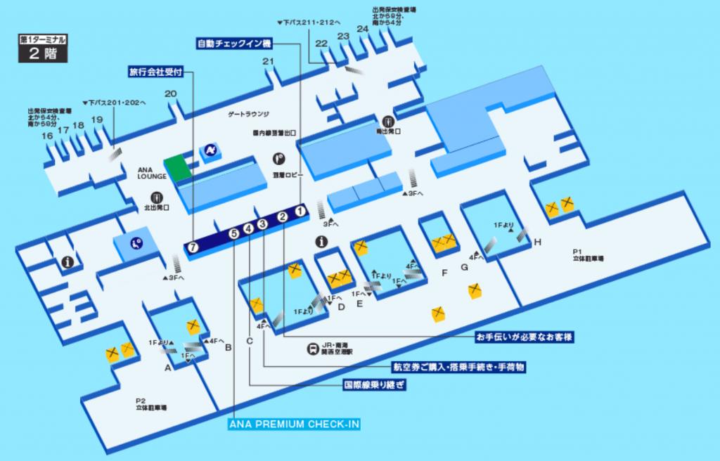 関西国際空港のANAプレミアムチェックインの場所