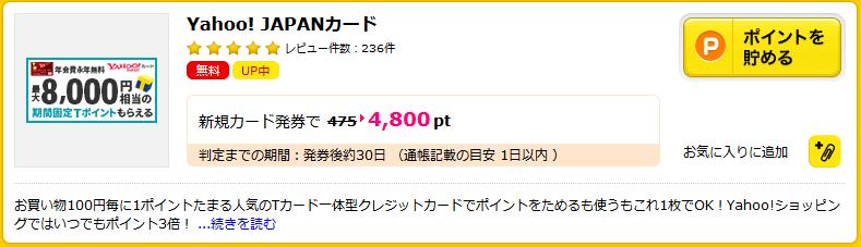 ハピタスのYahoo!JAPANカード案件4800円