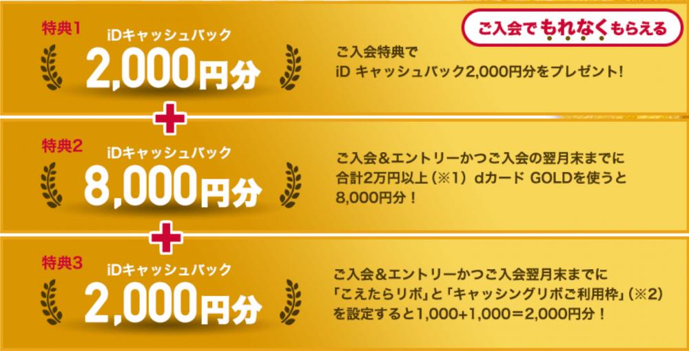 dカードゴールド入会キャンペーンの特典内訳