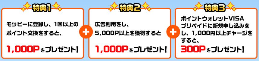 モッピー入会キャンペーン2300円の内訳