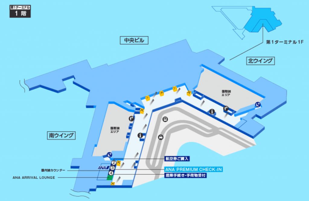 成田空港のANAプレミアムチェックインの場所