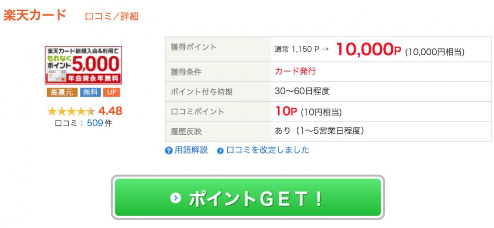 ライフメディアの楽天カード案件10000円