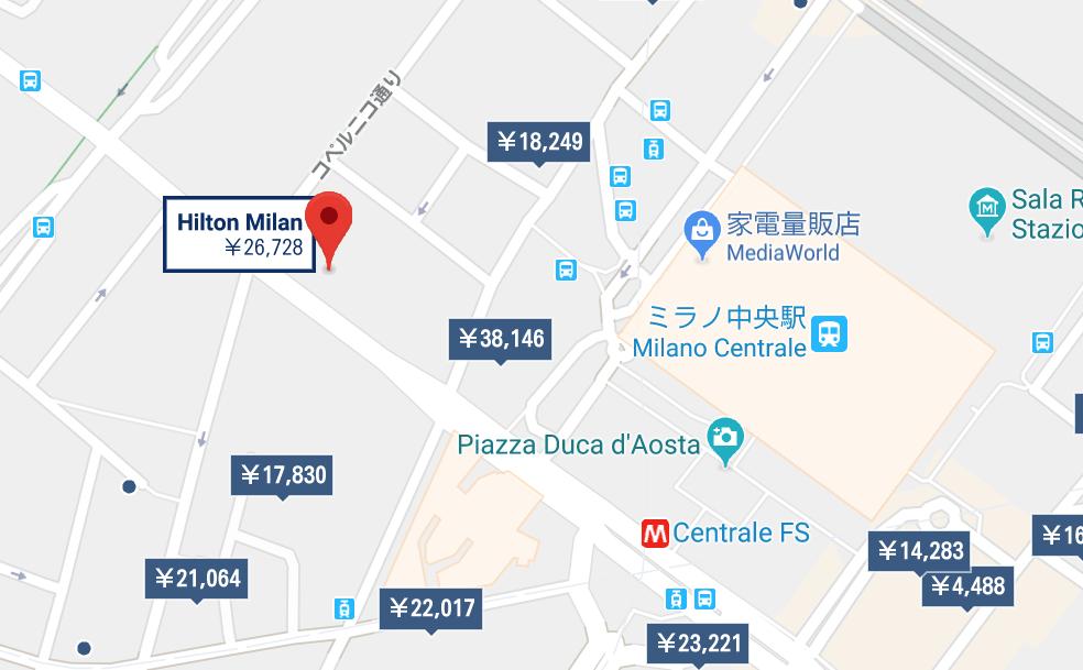 ヒルトンミラノの地図