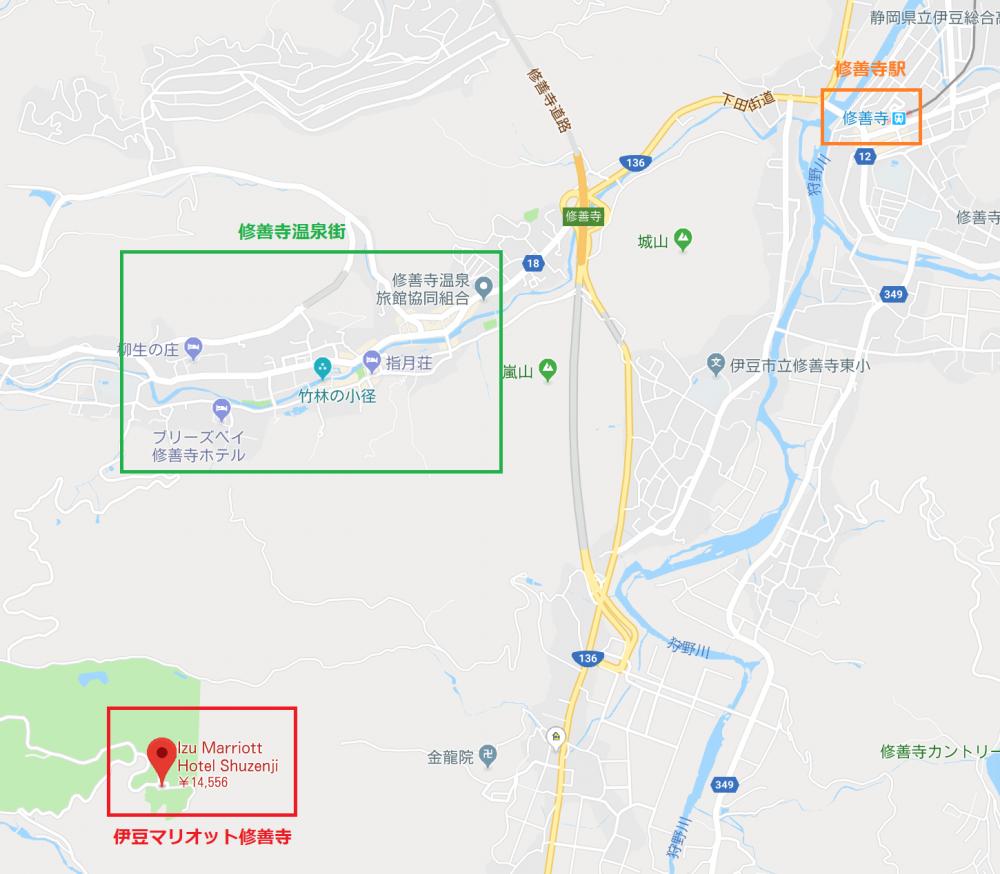 伊豆マリオット修善寺の地図