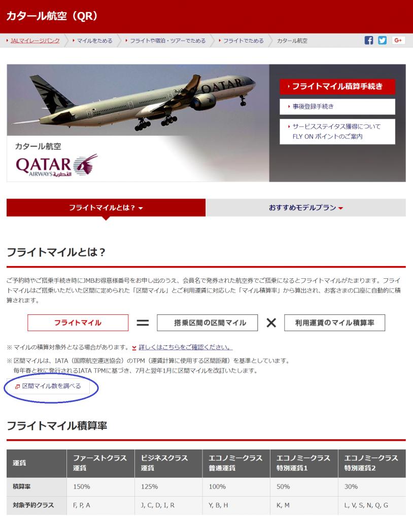 カタール航空 区間マイレージ検索