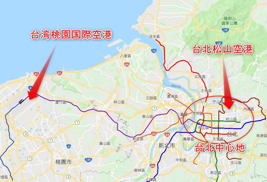 台湾桃園国際空港と台北松山空港の位置関係マップ