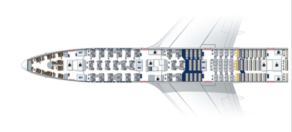 ルフトハンザB747-800 ファーストクラス シートマップ