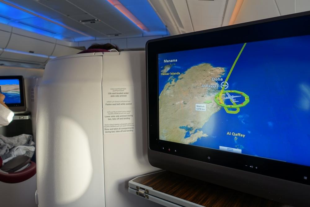 カタール航空 QR813便 ビジネスクラスキャビン 航路