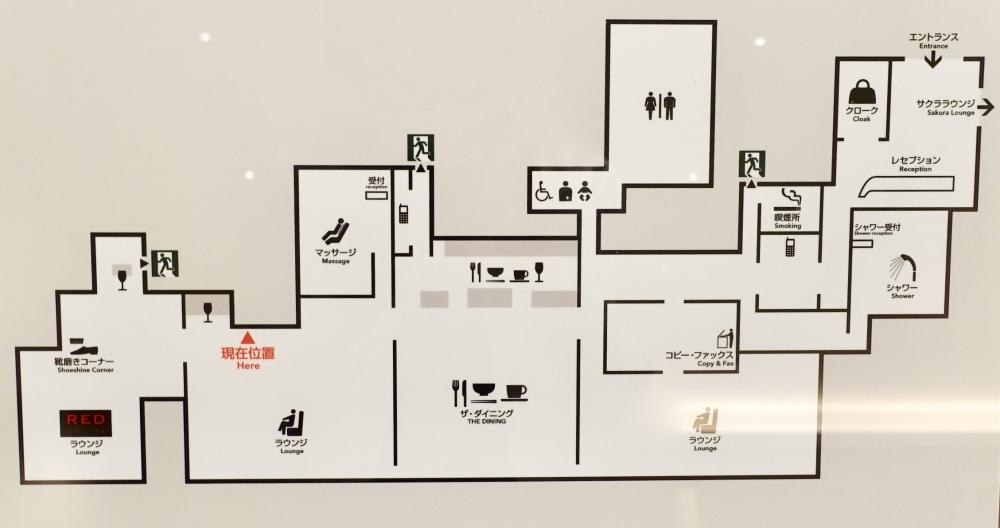 羽田空港国際線ターミナル JALファーストクラスラウンジ 見取り図