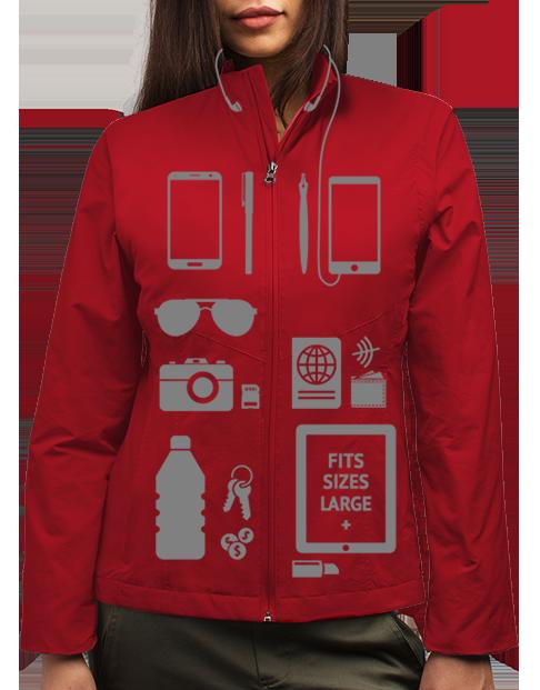 SCOTTeVESTジャケットのアイテム収納イメージ