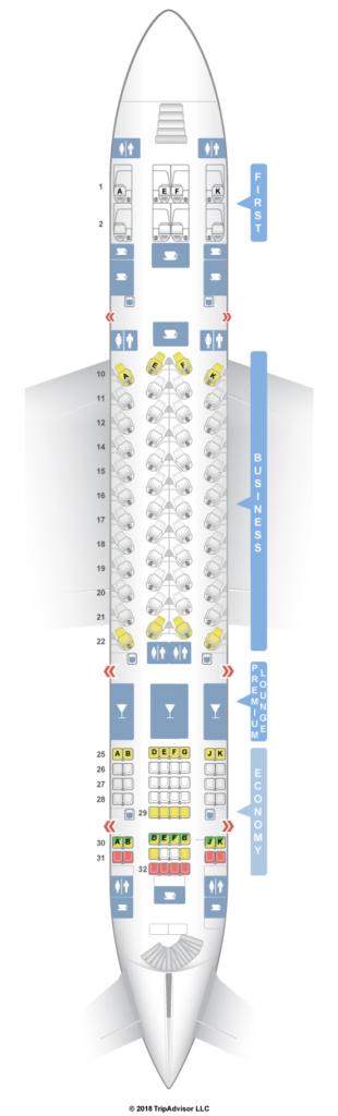 カタール航空A380-800シートマップ