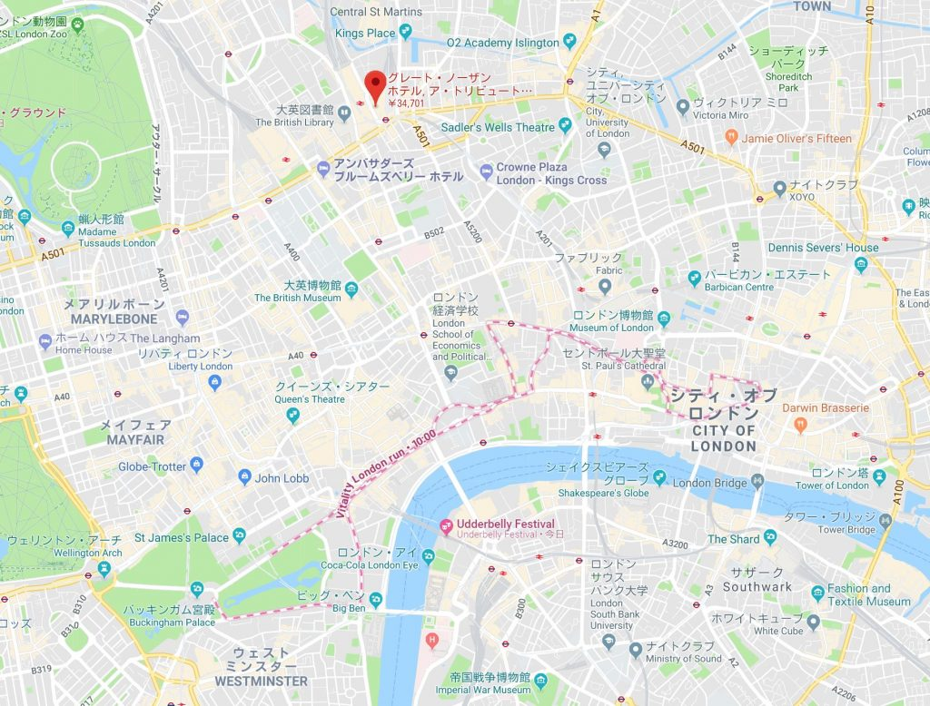 グレートノーザンホテルロンドン地図広域