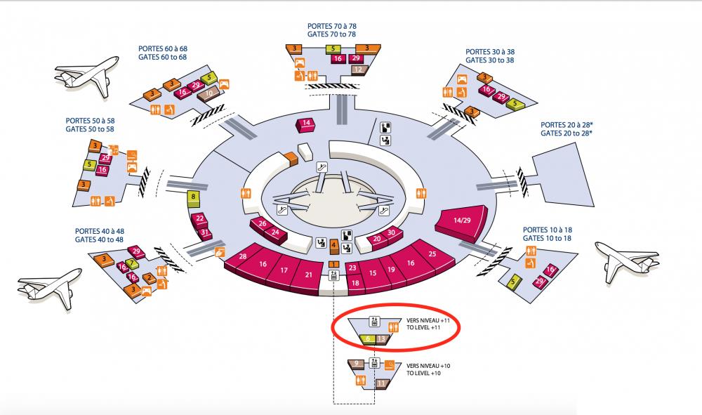 シャルル・ド・ゴール空港カタール航空ビジネスラウンジマップ